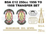 BSA C12 250cc 1956 to 1958 Transfer Decal Set